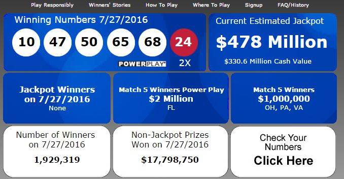 powerball numbers july 30 2016 photo - 1
