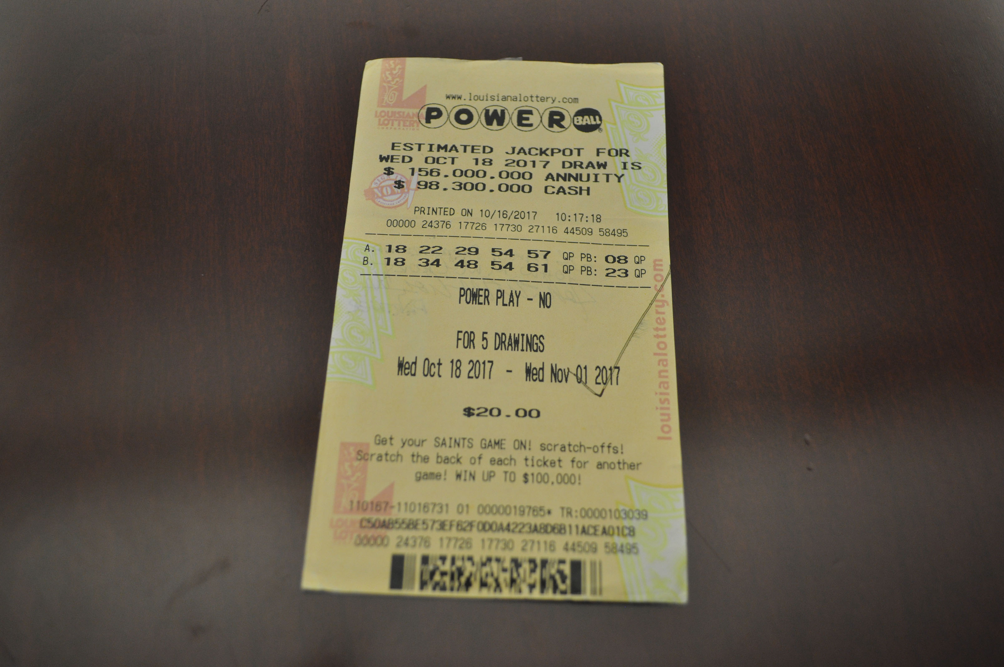 winning ticket powerball photo - 1